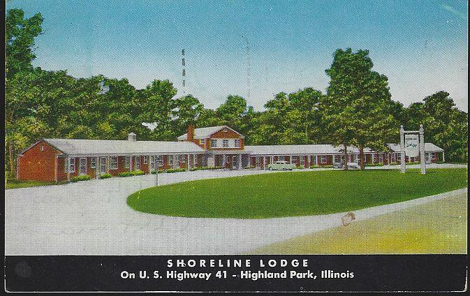 SHORELINE LODGE, HIGHLAND PARK, ILLINOIS, Postcard