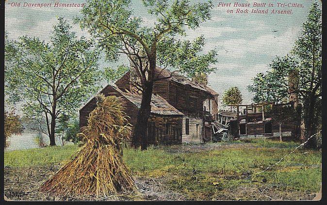 OLD DAVENPORT HOMESTEAD, ROCK ISLAND, ILLINOIS, Postcard