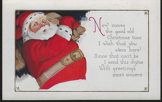 CHRISTMAS POSTCARD WITH SANTA CLAUS WITH TOY BAG, Postcard