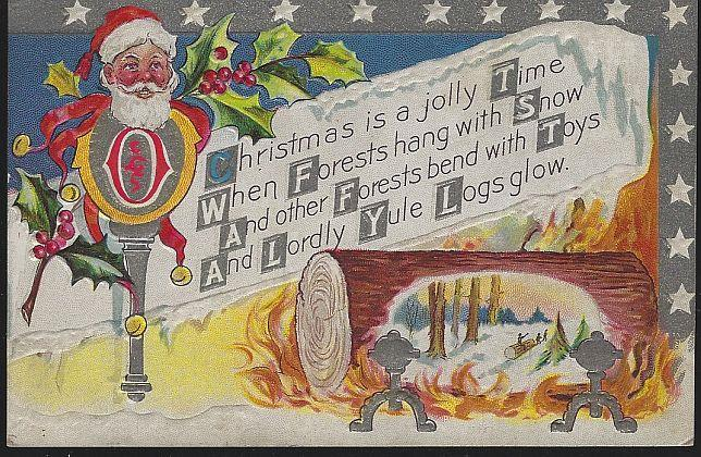CHRISTMAS POSTCARD WITH SANTA CLAUS AND YULE LOG, Postcard