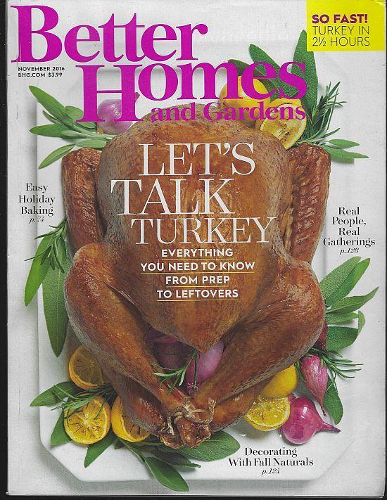 BETTER HOMES AND GARDENS MAGAZINE NOVEMBER 2016, Better Homes and Gardens