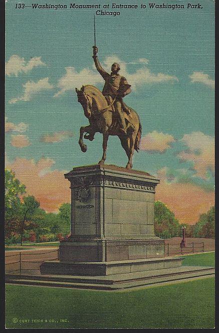 WASHINGTON MONUMENT AT ENTRANCE TO WASHINGTON PARK, CHICAGO, ILLINOIS, Postcard