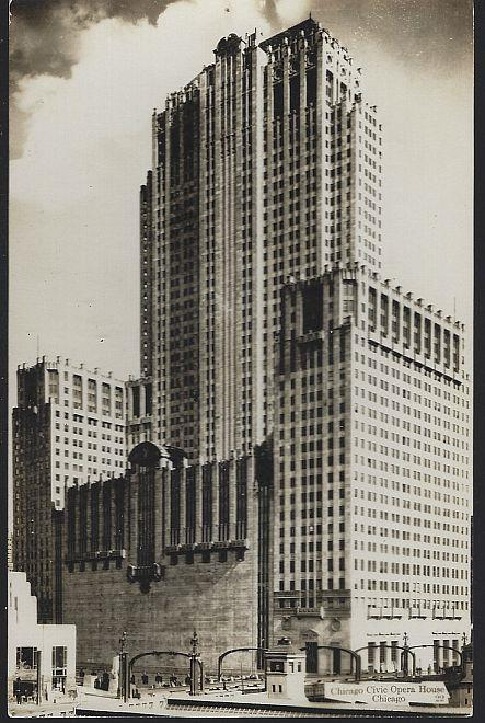 REAL PHOTO POSTCARD OF CHICAGO CIVIC OPERA HOUSE, CHICAGO, ILLINOIS, Postcard