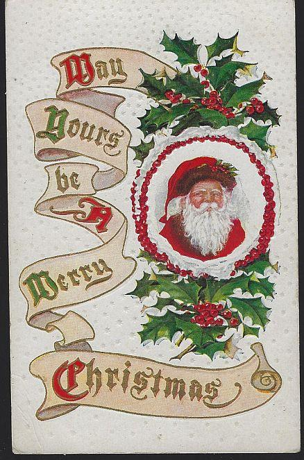 MERRY CHRISTMAS POSTCARD WITH SANTA CLAUS WITH HOLLY, Postcard