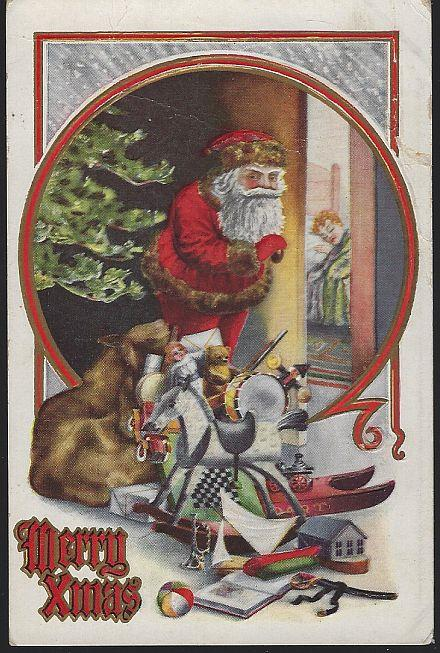 MERRY XMAS POSTCARD WITH SANTA CLAUS LEAVING TOYS UNDER THE TREE, Postcard