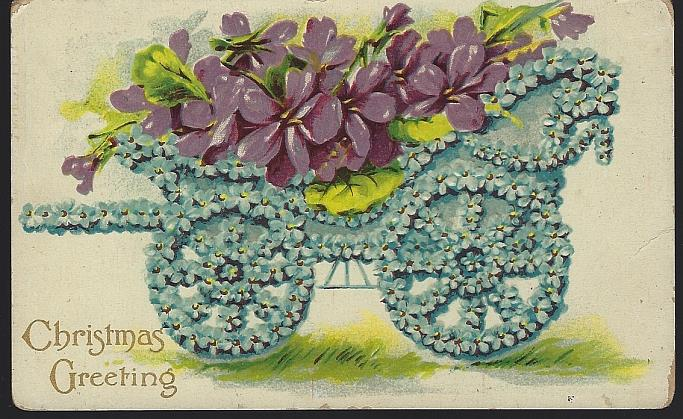 CHRISTMAS GREETINGS POSTCARD WITH FLORAL CART FILLED VIOLETS, Postcard