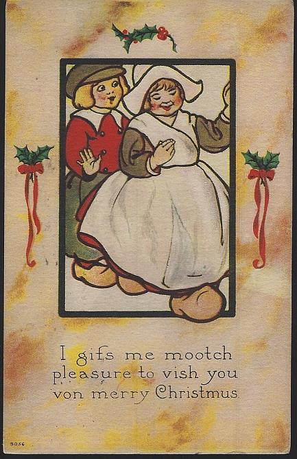 MERRY CHRISTMAS POSTCARD WITH DUTCH COUPLE, Postcard