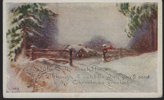 CHRISTMAS GREETING POSTCARD WITH SNOWY LANDSCAPE, Postcard