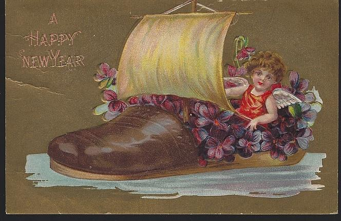 HAPPY NEW YEAR POSTCARD WITH CHERUB SAILING FLOWER FILLED SHOE, Postcard