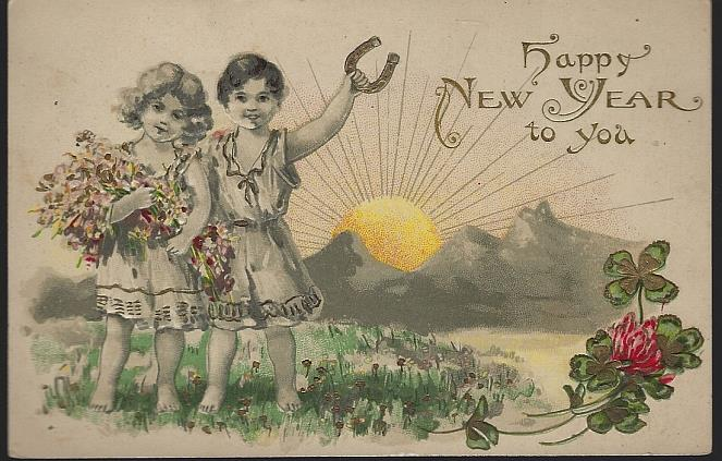 HAPPY NEW YEAR POSTCARD WITH CUTE GOOD LUCK CHILDREN, Postcard