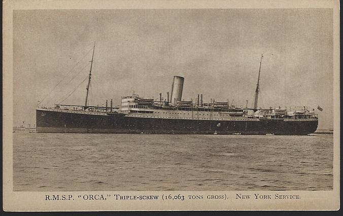 R. M.S.P. ORCA TRIPLE SCREW, NEW YORK SERVICE, Postcard