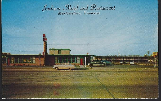 JACKSON MOTEL AND RESTAURANT, MURFREESBORO, TENNESSEE, Postcard