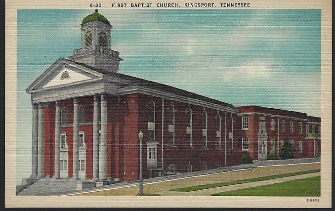 FIRST BAPTIST CHURCH, KINGSPORT, TENNESSEE, Postcard