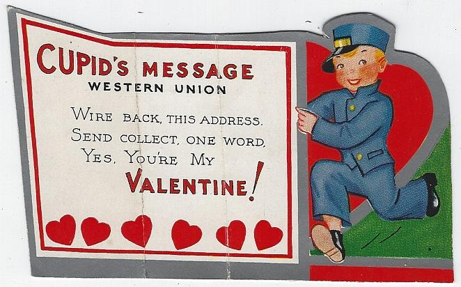 VINTAGE VALENTINE WITH WESTERN UNION LITTLE BOY, Valentine