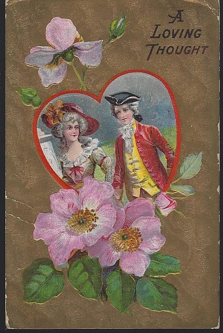 COLONIAL COUPLE A LOVING THOUGHT, Postcard