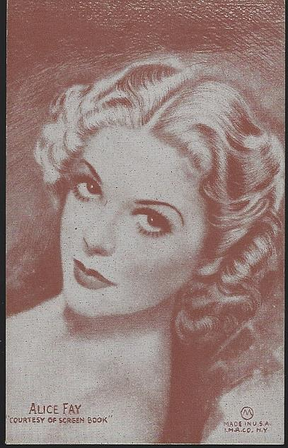 POSTCARD OF ACTRESS ALICE FAY, Postcard