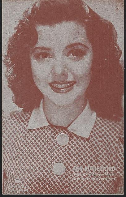 POSTCARD OF ACTRESS ANN RUTHERFORD, Postcard