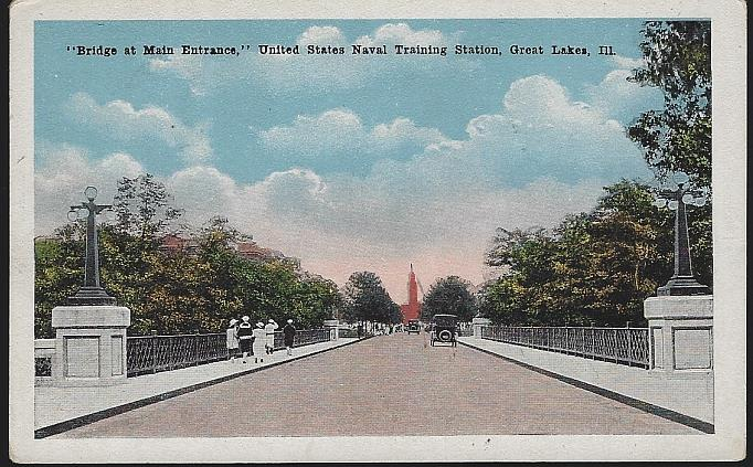 BRIDGE AT MAIN ENTRANCE, U. S. NAVAL TRAINING, GREAT LAKES, ILLINOIS, Postcard