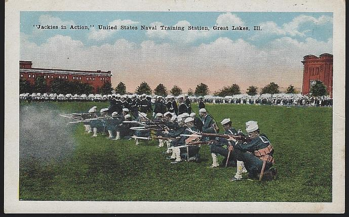 JACKIES IN ACTION, U. S. NAVAL TRAINING, GREAT LAKES, ILLINOIS, Postcard