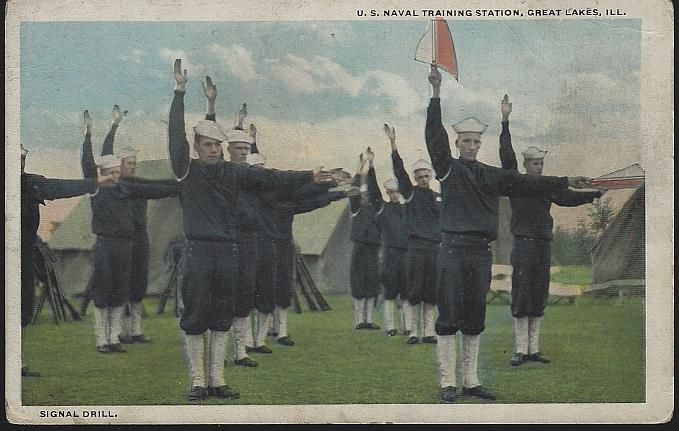 SIGNAL DRILL, U. S. NAVAL TRAINING, GREAT LAKES, ILLINOIS, Postcard