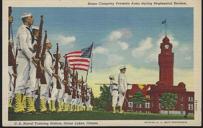 HONOR COMPANY PRESENTS ARMS DURING REGIMENTAL REVIEW, U. S. NAVAL TRAINING, GREAT LAKES, ILLINOIS, Postcard