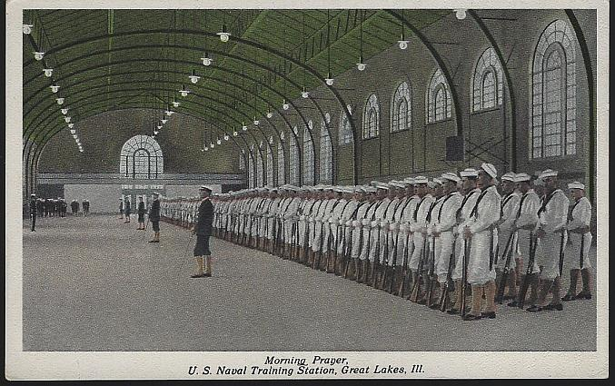 MORNING PRAYER, U. S. NAVAL TRAINING, GREAT LAKES, ILLINOIS, Postcard