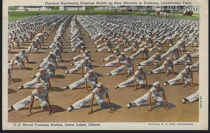PHYSICAL HARDENING PROGRAM BUILDS UP NEW RECRUITS IN TRAINING, CONSTITUTION FIELD, U. S. NAVAL TRAINING, GREAT LAKES, ILLINOIS, Postcard