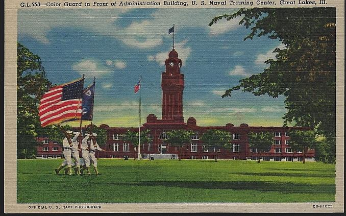 COLOR GUARD IN FRONT OF ADMINISTRATION BUILDING, U. S. NAVAL TRAINING, GREAT LAKES, ILLINOIS, Postcard