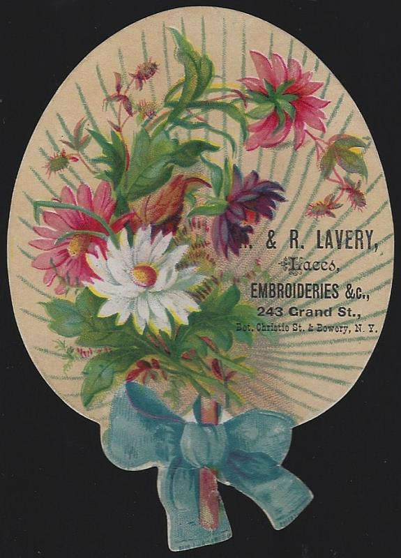 VICTORIAN DIE CUT FAN TRADE CARD FOR R. AND R. LAVERY LACES, NEW YORK, Advertisement