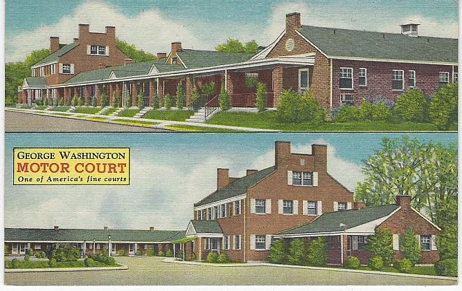 GEORGE WASHINGTON MOTOR COURT, FREDERICKSBURG, VIRGINIA, Postcard
