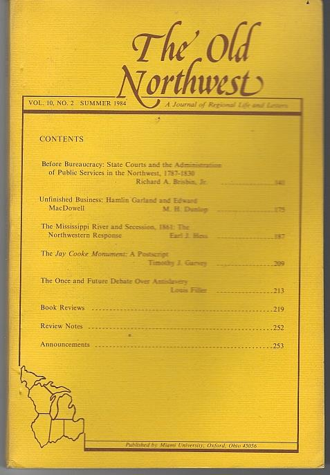 OLD NORTHWEST A JOURNAL OF REGIONAL LIFE AND LETTERS SUMMER 1984 Vol 10 No. 2, Dickinson, John editor