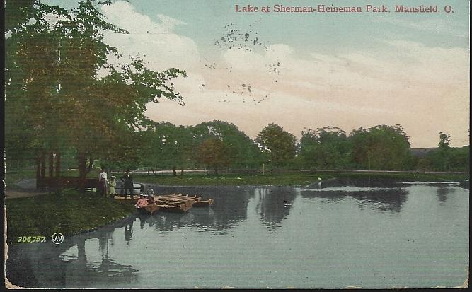 LAKE AT SHERMAN-HEINEMAN PARK, MANSFIELD, OHIO, Postcard