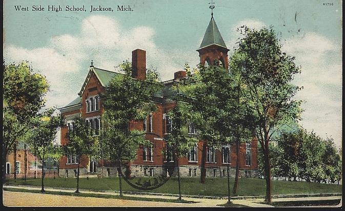 WEST SIDE HIGH SCHOOL, JACKSON, MICHIGAN, Postcard