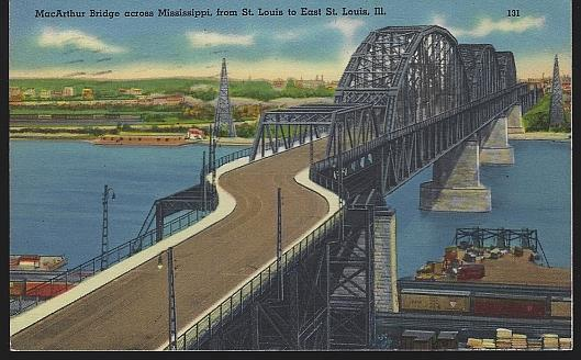 MACARTHUR BRIDGE ACROSS MISSISSIPPI FROM ST. LOUIS, MISSOURI TO EAST ST. LOUIS, ILLINOIS, Postcard