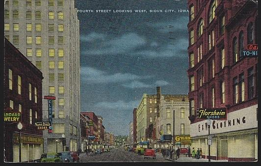 FOURTH STREET, LOOKING WEST, SIOUX CITY, IOWA, Postcard