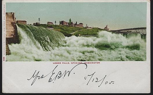 Image for UNDIVIDED POSTCARD OF LOWER FALLS, SPOKANE, WASHINGTON