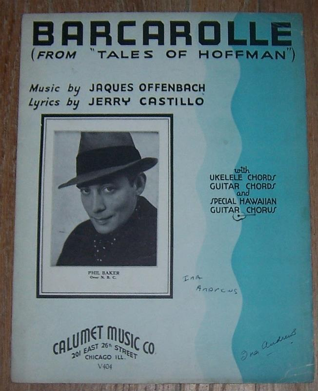 BARCAROLLE From Tales of Hoffman, Sheet Music