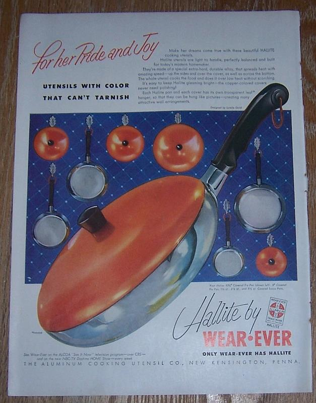 1954 HALLITE BY WEAR-EVER MAGAZINE COLOR ADVERTISEMENT, Advertisement