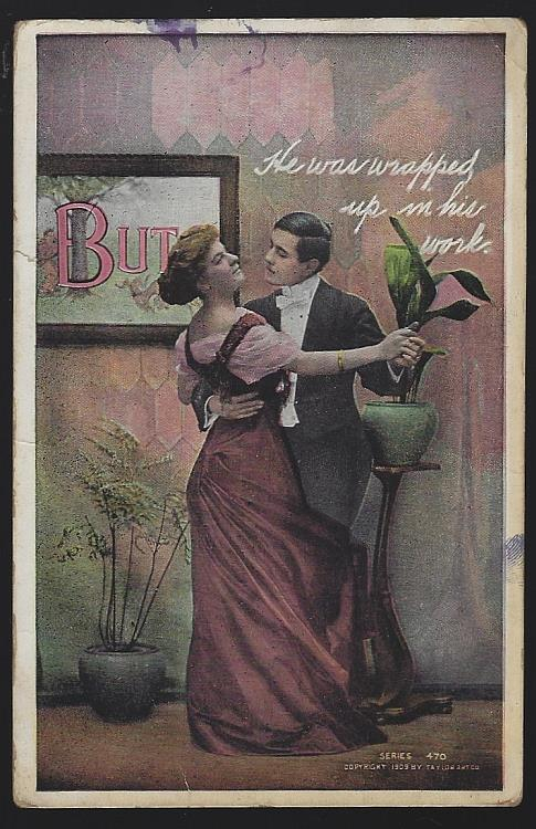 POSTCARD OF DANCING COUPLE, WRAPPED UP IN HIS WORK, Postcard