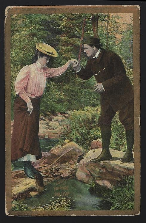 POSTCARD OF HIKING COUPLE, ALWAYS LOOK BEFORE YOU LEAP, Postcard