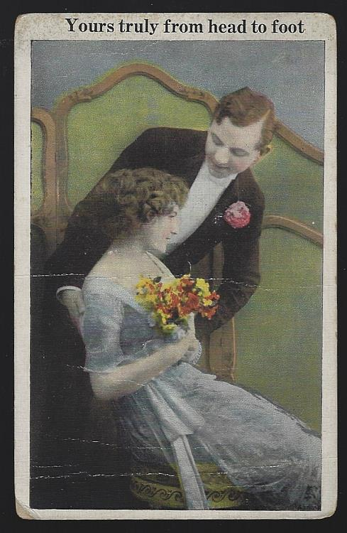 POSTCARD OF COURTING COUPLE, YOURS TRULY FROM HEAD TO FOOT, Postcard
