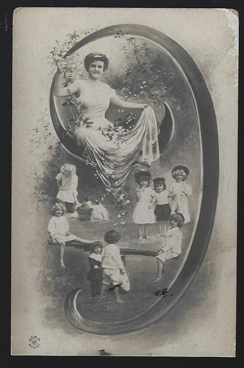 POSTCARD OF LOVELY LADY SITTING IN ON INITIAL J SURROUNDED BY CHILDREN PLAYING, Postcard