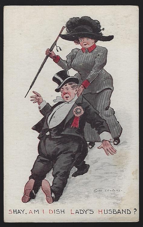 POSTCARD OF WIFE DRAGGING DRUNK HUSBAND, Postcard