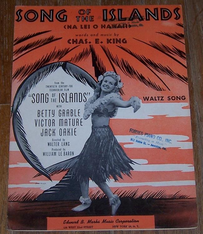 SONG OF THE ISLANDS (NA LEI O HAWAII), Sheet Music