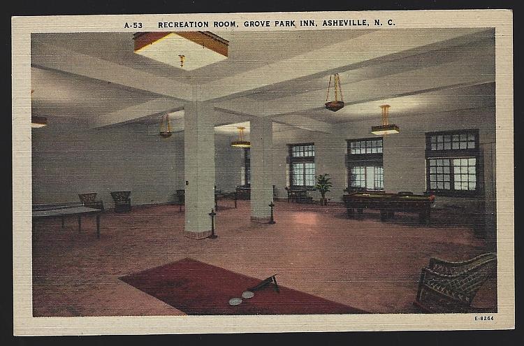 RECREATION ROOM, GROVE PARK INN, ASHEVILLE, NORTH CAROLINA, Postcard