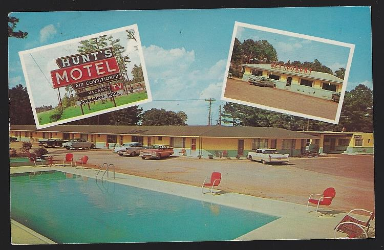 HUNT'S MOTEL, ROCKY MOUNT, NORTH CAROLINA, Postcard