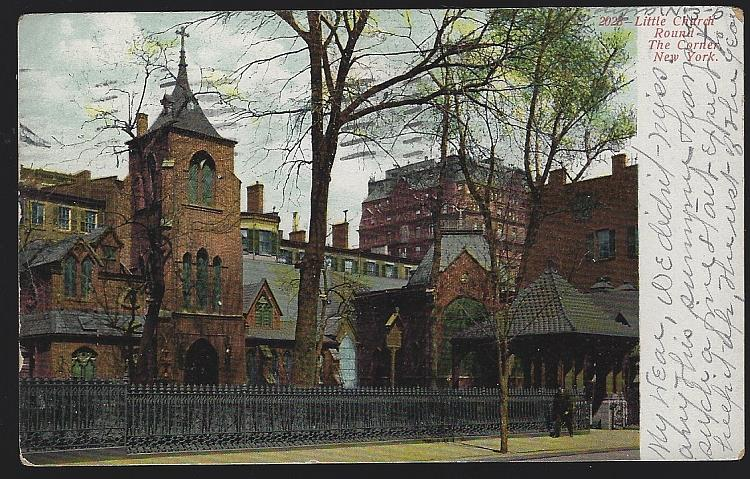 UNDIVIDED POSTCARD OF LITTLE CHURCH ROUND THE CORNER, NEW YORK, Postcard