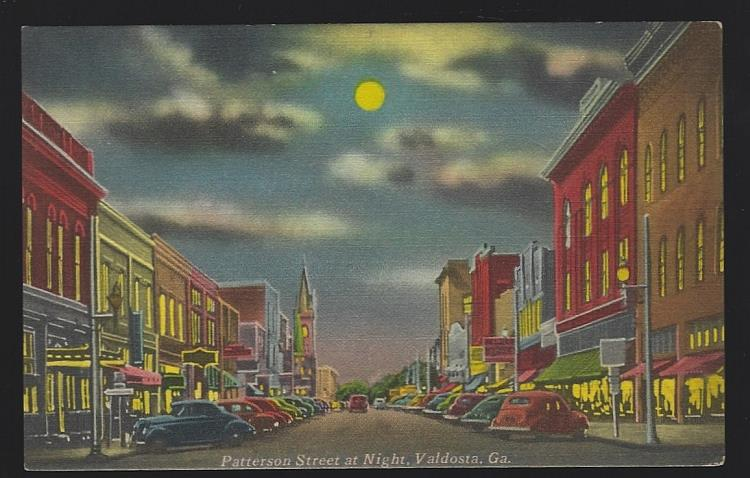 PATTERSON STREET AT NIGHT, VALDOSTA, GEORGIA, Postcard