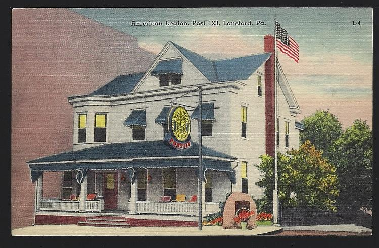 AMERICAN LEGION, POST 123, LANSFORD, PENNSYLVANIA, Postcard