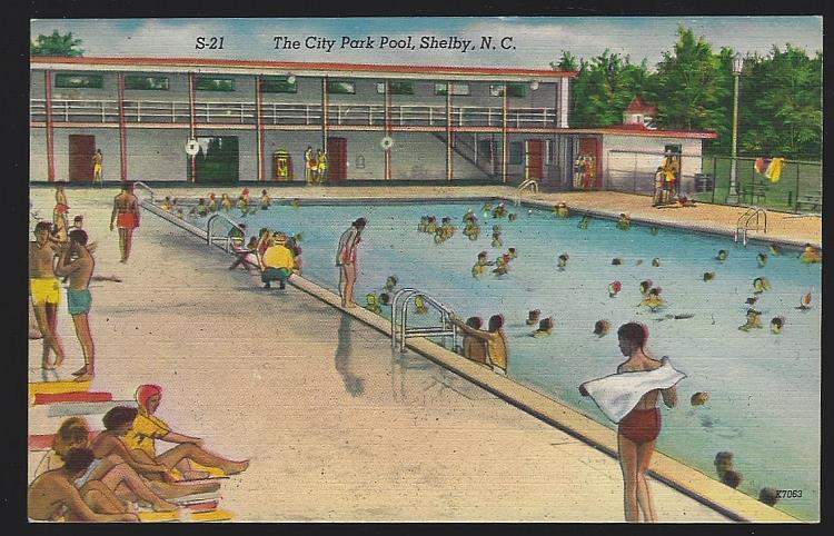 CITY PARK POOL, SHELBY, NORTH CAROLINA, Postcard